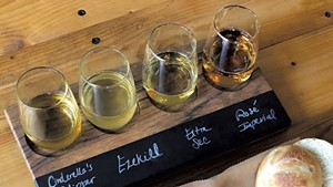 Eden Specialty Ciders flight with cheese