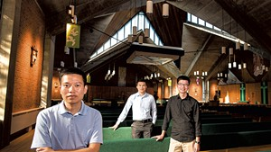From left: Giang Vu, Thang Nguyen and Luan Tran at the Chapel of St. Michael the Archangel on the campus of Saint Michael's College