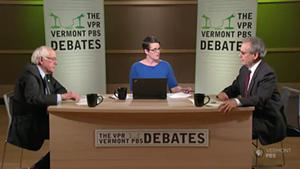 Sen. Bernie Sanders (I-Vt.) and Republican challenger Lawrence Zupan with debate moderator Jane Lindholm