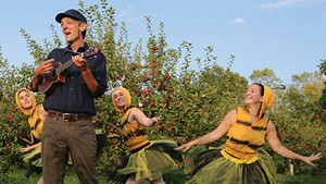 Mister Chris with bee dancers at Shelburne Orchards