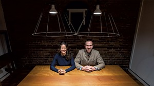 Jessica and Dustin Glasscoe of Vermont Farm Table at their offices in Burlington