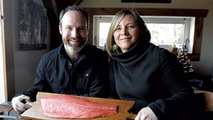 Lynn and Maria Steyaart with some coho salmon from Alaska