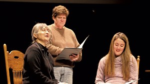 From left: Hillary Mullins, Susan Loynd and Samantha Loesch reading The Laramie Project