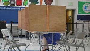 A voter in Burlington's Old North End.