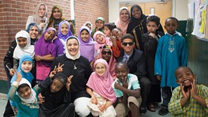 Students and teachers backstage at the Weekend Islamic School's annual show