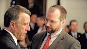 Gov. Phil Scott (left) and Jason Gibbs