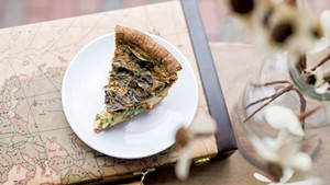 Spinach, tomato and ricotta quiche at Sweet Babu
