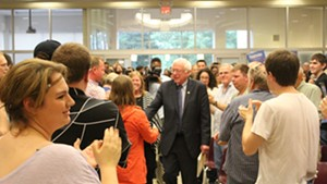 Sen. Bernie Sanders arrives Thursday night at Morningside College in Sioux City, Iowa.