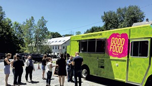 The Good Food Truck at a soft-opening at HMC advertising in Richmond, which donated design work for the truck
