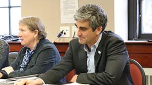 City attorney Eileen Blackwood, left, and Mayor Miro Weinberger