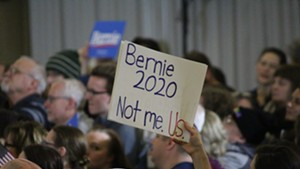 Bernie Sanders supporters at a rally in Concord, N.H.