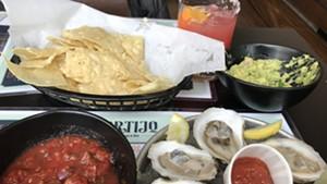 Oysters and guacamole at El Cortio in Winooski