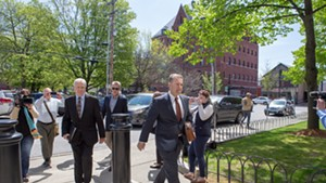 Bill Stenger, left, arriving at federal court with attorney Brooks McArthur