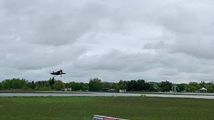 An F-35 landing at Burlington International Airport