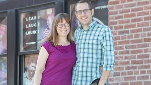 Natalie Miller and Nathan Hartswick in front of the future VCC