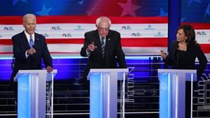 Sen. Bernie Sanders at the Democratic presidential debate in Miami