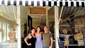 Manager Veronica Pollan, owner Mary Alice Profitt and chef Artie Fleischer in front of Down Home