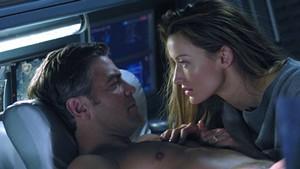 George Clooney and Natasha McElhone in Solaris (2002)
