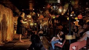 Druidical poet Elizabeth Horstmann reading at Lit Club at the Light Club