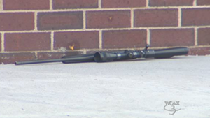 A rifle at the scene of the shooting