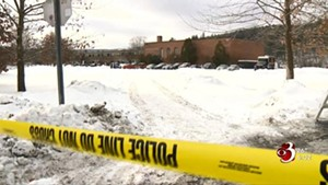 A still from WCAX's report on a police shooting at Montpelier High School in January 2018