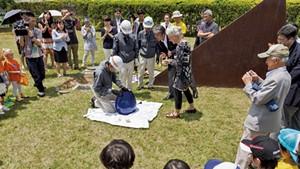 Kate Pond at a capsule opening in Izumi Town, Sendai, Japan