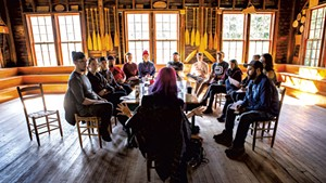 Satine Phoenix leads a seminar on storytelling at Camp Mograph in North Hero