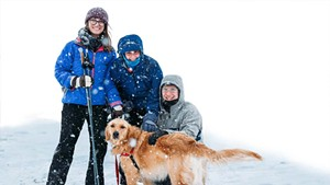 Family cross-country skiing at the Intervale