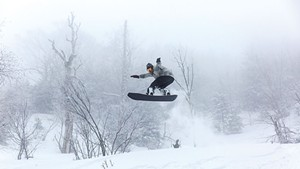 Pro snowboarder Ralph Kucharek on a PowderJet snowboard