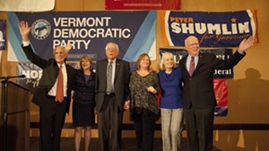 Vermont's congressional delegation — Rep. Peter Welch, Sen. Bernie Sanders and Sen. Patrick Leahy — and their spouses on Election Day 2014.