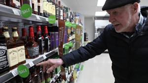 Bill Keogh shops for booze at the Camp Johnson base exchange