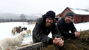 Joey Nagy (left) with farmworker Joe Thompson at Marble Hill Farm in Fayston