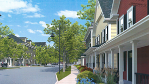 A rendering of the new neighborhood submitted to the Burlington Development Review Board.