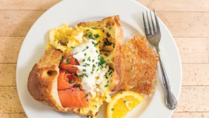 Smoked salmon and egg popover at Mirabelles