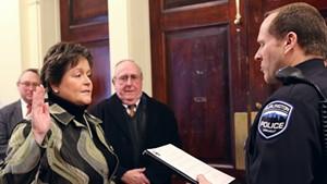 Jennifer Morrison being sworn in as interim Burlington police chief