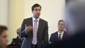 Senate President Pro Tempore Tim Ashe addressing colleagues Tuesday at the Statehouse