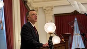 Gov. Phil Scott delivering his 2020 budget address on Tuesday at the Vermont Statehouse