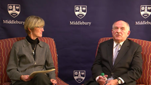 Professor Allison Stanger with Charles Murray on the live stream in 2017