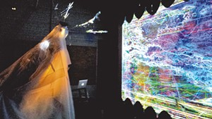 Athena Kafantaris interacting with video  during the Simulacrum Project launch