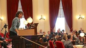 House Speaker Mitzi Johnson gaveling in the final override vote Wednesday