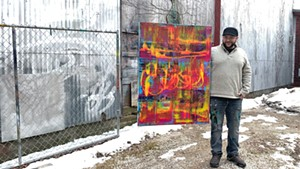 Steve Sharon & his abstract painting at the Green Door Studio