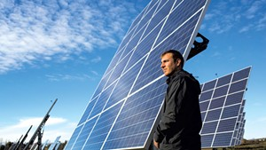 Developer Joe Larkin at a South Burlington solar farm