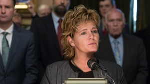 Rep. Sarah Copeland Hanzas (D-Bradford) urging support for S.54 during a press conference last month