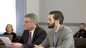 Winooski detective Christopher Matott (right) and attorney Robert Katims