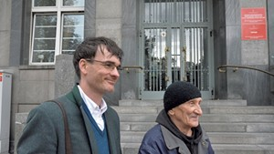 Author Jack Fairweather (left) with 89-year-old Bohdan Walasek, who fought with Witold Pilecki during the Warsaw uprising