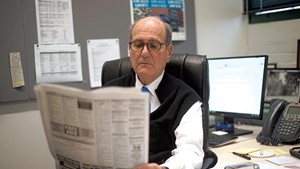 Fredric Rutberg in his office at the Berkshire Eagle