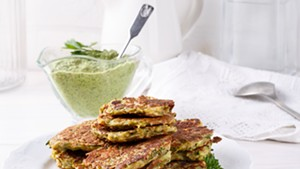 Vegetable pancakes with green tahini miso sauce