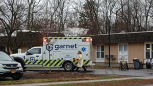 An ambulance at Birchwood Terrace on April 9