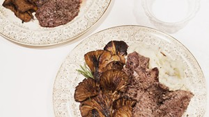 Pan-seared venison with oyster mushrooms