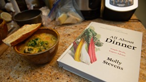 Bowl of soup and James Beard finalist cookbook by Molly Stevens